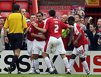 Photo: Rich Eaton.<br /> <br /> Bristol City v Crewe Alexander. Coca Cola League 1. 14/10/2006. Scott Murray second left of Bristol City celebrates scoring the first goal of the game for Bristol