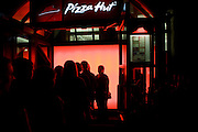 Customers queue to gain entrance into London Pizza Hut restaurant.