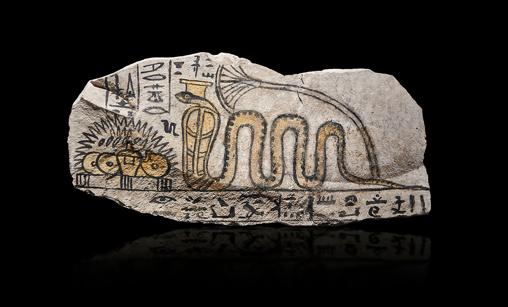 Ancient Egyptian ostracon dedicated by Amenkhau to Mereteseger, limestone, New Kingdom, 20th Dynasty, (1187-1150 BC), Deir el-Medina, ODrovetti cat 1564. Egyptian Museum, Turin. black background .<br /> <br /> If you prefer to buy from our ALAMY PHOTO LIBRARY  Collection visit : https://www.alamy.com/portfolio/paul-williams-funkystock/ancient-egyptian-art-artefacts.html  . Type -   Turin   - into the LOWER SEARCH WITHIN GALLERY box. Refine search by adding background colour, subject etc<br /> <br /> Visit our ANCIENT WORLD PHOTO COLLECTIONS for more photos to download or buy as wall art prints https://funkystock.photoshelter.com/gallery-collection/Ancient-World-Art-Antiquities-Historic-Sites-Pictures-Images-of/C00006u26yqSkDOM