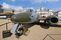 Gloster Meteor F4, RAF100 Aircraft Tour London, Horse Guards, Whitehall, Westminster, London, UK, 05 July 2018, Photo by Richard Goldschmidt, To celebrate the Centenary of the Royal Air force The RAF100 Aircraft Tour is a public display of iconic RAF aircraft in city locations around the country.