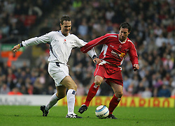 LIVERPOOL, ENGLAND - SUNDAY MARCH 27th 2005: Liverpool Legends' Robbie Fowler and Celebrity XI's Paul Salt during the Tsunami Soccer Aid match at Anfield. (Pic by David Rawcliffe/Propaganda)