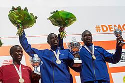 07-04-2019 NED: 39e NN Rotterdam Marathon, Rotterdam<br /> The winner kenyan Marius Kipserem during the NN marathon of Rotterdam. (r) Kaan Özbilen silver and Emanuel Saina bronze