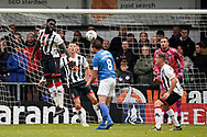 Brett Pitman of Portsmouth heads the ball towards goal during the The FA Cup 1st round match between Maidenhead United and Portsmouth at York Road, Maidenhead, United Kingdom on 10 November 2018.