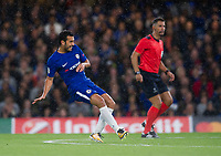 Chelsea's Pedro scores his side's first goal <br /> <br /> Photographer Ashley Western/CameraSport<br /> <br /> UEFA Champions League - Chelsea v FK Qarabag - Tuesday 12th September 2017 - Stamford Bridge - London<br />  <br /> World Copyright © 2017 CameraSport. All rights reserved. 43 Linden Ave. Countesthorpe. Leicester. England. LE8 5PG - Tel: +44 (0) 116 277 4147 - admin@camerasport.com - www.camerasport.com