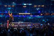 The Rock enters the ring during WrestleMania on April 3, 2016 in Arlington, Texas.