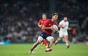 Twickenham, England.  France's, Sofiane GUITOUNE, ball in hand, during the QBE International. England vs France [World cup warm up match]  Saturday.  15.08.2015,  [Mandatory Credit. Peter SPURRIER/Intersport Images].