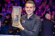 The 19.com World Snooker Scottish Open Champion 2019 Mark Selby holds the Stephen Hendry Trophy with a broad smile following his win at the World Snooker 19.com Scottish Open Final Mark Selby vs Jack Lisowski at the Emirates Arena, Glasgow, Scotland on 15 December 2019.