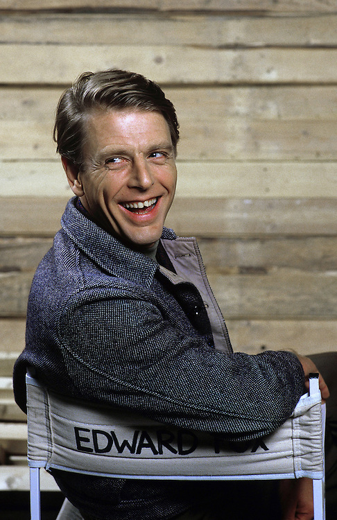 """British actor Edward Fox seen on the set of the film 'Wild Geese 2"""" in London in 1984. Photographed by Terry Fincher"""