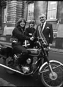 New Messenger Girl   (P4).1981..25.11.1981..11.25.1981..25th November 1981..Images show a new motorcycle messenger girl collecting a Government letter for delivery..We do not have a caption sheet naming any of the individuals pictured, if you know any of them why not contact us at irishphotoarchive@gmail.com and we will gladly add their names.