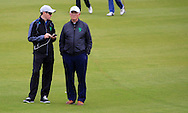 Brendan Coffey grabbing a word with Tony Goods at the AIG Senior Cup semi Final at the AIG Cups & Shields National Finals, Carton House, Maynooth, Co Kildare.<br /> Picture Golffile | Fran Caffrey
