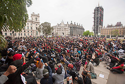 © Licensed to London News Pictures. 03/06/2020. London, UK. Black Lives Matter protestors rally in Hyde Park moved the Parliament Square, central London following the death of George Floyd in Minnesota, USA . Photo credit: Marcin Nowak/LNP