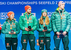 02.03.2019, Seefeld, AUT, FIS Weltmeisterschaften Ski Nordisch, Seefeld 2019, Siegerehrung, im Bild Weltmeister und Goldmedaillengewinner Katharina Althaus (GER), Markus Eisenbichler (GER), Juliane Seyfarth (GER) // World champion and Gold medalist Katharina Althaus Markus Eisenbichler Juliane Seyfarth Karl Geiger of Germany during the winner Ceremony for the FIS Nordic Ski World Championships 2019. Seefeld, Austria on 2019/03/02. EXPA Pictures © 2019, PhotoCredit: EXPA/ Stefan Adelsberger