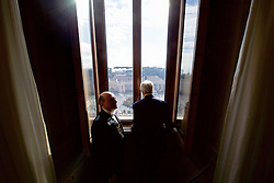 December 2, 2016 - Rome, Italy - U.S Secretary of State John Kerry looks out a window at the Christmas tree in the middle of St. Peter's Square before a meeting with Pope Francis in the Papal Apartments at the Vatican December 2, 2016 in Rome, Italy. (Credit Image: © Us State Department/Planet Pix via ZUMA Wire)