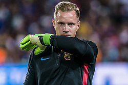 August 13, 2017 - Barcelona, Catalonia, Spain - FC Barcelona goalkeeper TER STEGEN during the warm up prior to the Spanish Super Cup Final 1st leg between FC Barcelona and Real Madrid at the Camp Nou stadium in Barcelona. (Credit Image: © Matthias Oesterle via ZUMA Wire)