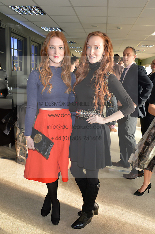 Left to right, OLIVIA HALLINAN and OLIVIA GRANT at the 2014 Hennessy Gold Cup at Newbury Racecourse, Newbury, Berkshire on 29th November 2014.  The Gold Cup was won by Many Clouds ridden by Leighton Aspell.