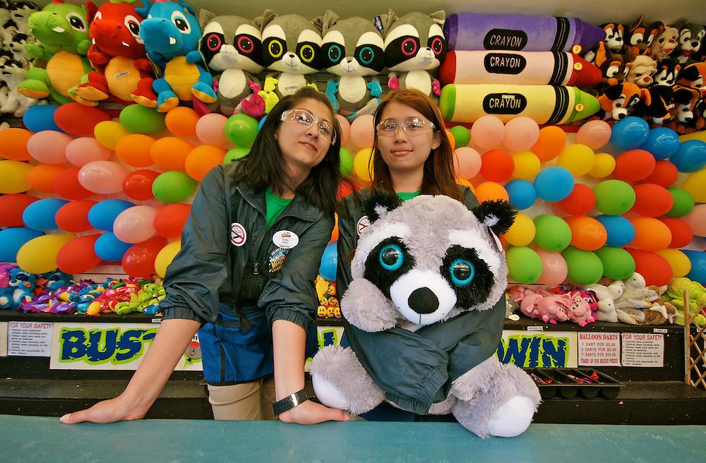 Wildwood Boardwalk, Twin Girls at Balloon Target, Wildwood, South Jersey, NJ