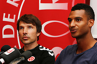 Reims's new player David Ngog with the coach Jean Luc VASSEUR during the official presentation, on September 2, 2014 in Reims . Photo Anthony Serpe / DPPI