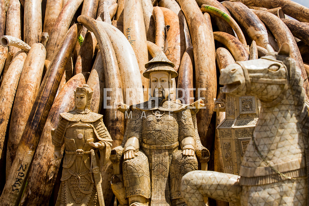 Ivory ornaments and elephant tusks await destruction in Kenya. The tusks alone - from about 8,000 elephants - would be worth more than $105 million on the black market. Conservationists worry that there is a a real threat of elephants becoming extinct in the next 50 years because of poaching bankrolled by the illegal trade in ivory. Photo: Paul Hilton