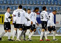 Fotball<br /> 27 mars 2009<br /> Landskamp<br /> Norge U21 - England U21<br /> Tom Huddlestone , England jubler sammen med<br /> laget etter 3 - 0 scoring mot Norge<br /> Foto: Reidar Talset , Digitalsport