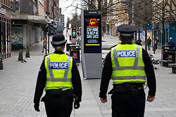 Glasgow, Scotland, UK. 1 April, 2020. Effects of Coronavirus lockdown on streets of Glasgow, Scotland. Police patrol Sauchiehall Street. Iain Masterton/Alamy Live News