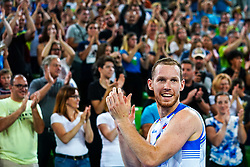Tine Urnaut of Slovenia and the fans during volleyball match between Cuba and Slovenia in Final of FIVB Volleyball Challenger Cup Men, on July 7, 2019 in Arena Stozice, Ljubljana, Slovenia. Photo by Matic Klansek Velej / Sportida