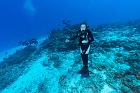 Sylvia posing underwater Seychelles