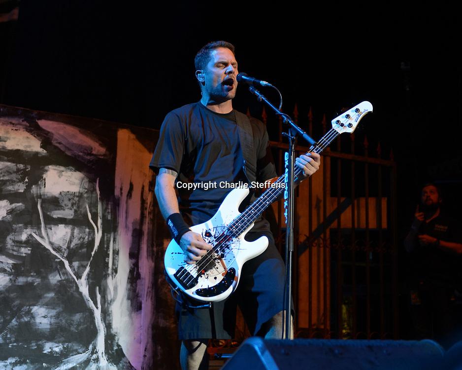 ANDERS KJOLHOLM of Volbeat at Knotfest at San Manuel Amphitheater in San Bernardino, California