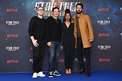 Aaron Harberts, Jason Isaacs, Sonequa Martin-Green and Shazad Latif pictured at a Star Trek: Discovery fan screening, at Milbank Tower in London. PRESS ASSOCIATION Photo. Picture date: Sunday November 5th, 2017. Photo credit should read: Matt Crossick/PA Wire.