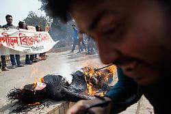 January 30, 2018 - Dhaka, Bangladesh - Bangladeshi students of Dhaka University burnt the effigy of the university Proctor Golam Rabbani at Dhaka demanded his resignation on January 30, 2018. (Credit Image: © Mehedi Hasan/NurPhoto via ZUMA Press)