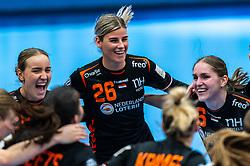 Nikita Van Der Vliet of Netherlands, Angela Malestein of Netherlands, Laura Van Der Heijden of Netherlands celebrate after the Women's EHF Euro 2020 match between Netherlands and Hungry at Sydbank Arena on december 08, 2020 in Kolding, Denmark (Photo by RHF Agency/Ronald Hoogendoorn)