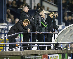 Leeann Dempster, Chief Executive behind the dugout. <br /> Raith Rovers 2 v 1 Hibernian, Scottish Championship game player at Stark's Park, 18/3/2016.