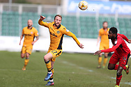 Sean Rigg of Newport county in action. EFL Skybet football league two match, Newport county v Crawley Town at Rodney Parade in Newport, South Wales on Saturday 1st April 2017.<br /> pic by Andrew Orchard, Andrew Orchard sports photography.