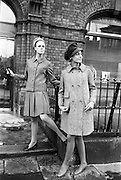20/09/1967<br /> 09/20/1967<br /> 20 September 1967<br /> Gaeltarra Eireann Autumn 1967 Fashion Show at 34 Westland Row, Dublin. Anne Marie (left) wearing a turquoise tweed pleated suit by David Kenna and Grace wearing a beige herringbone military style coat by Jimmy Hourihan.