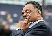 ATLANTA - MAY 15:  Reverend Jesse Jackson watches a video during a pre-game ceremony to honor Beacon Award recipients before the MLB Civil Rights Game between the Philadelphia Phillies and the Atlanta Braves on Sunday, May 15, 2011 at Turner Field in Atlanta, Georgia.  (Photo by Mike Zarrilli/MLB Photos via Getty Images)