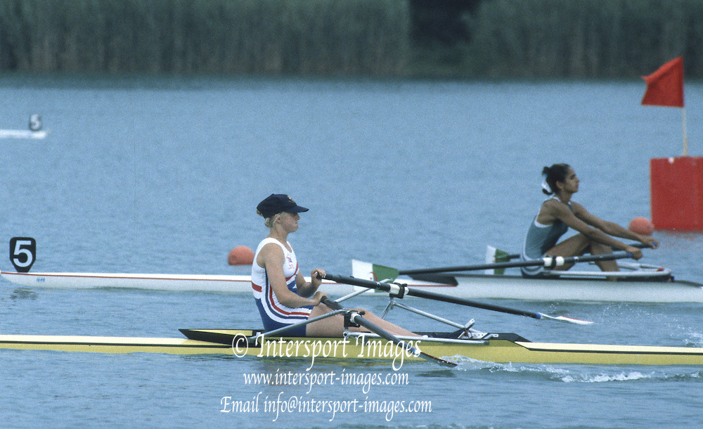 Milan ITALY,  General View of the GBR BLW1X Sarah WATTS, competing in the 1997 Nations Cup U23  World Rowing Championships. Course, Idra Scala. Province of Milan.<br /> <br /> [Mandatory Credit; Peter Spurrier/Intersport-images] 1997 U23 Nations Cup U23 Championships. Milan Italy
