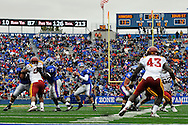 October 10, 2009:  Quarterback Todd Reesing #5 of the Kansas Jayhawks drops back to pass during the second quarter against the Iowa State Cyclones at Memorial Stadium in Lawrence, Kansas.  Kansas defeated the Cyclones 41-36.