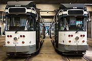Two old electric trams in De Lijn depot in Brusselsesteenweg in Gentbrugge, Ghent, Belgium.
