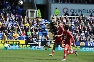 Reading's Adam Le Fondre heads at goal and feels that the ball had crossed the line. Barclays Premier league, Reading v Southampton at the Madejski stadium in Reading on Saturday 6th April 2013. pic by Andrew Orchard, Andrew Orchard sports photography,