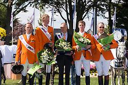 Team Holland <br /> Winners of the Furusiyya FEI Nations Cup<br /> León Thijssen, Hendrik Jan Schuttert, Rob Ehrens (chef d'equipe), Frank Schuttert, Albert Voorn<br /> CSIO La Baule 2013<br /> © Dirk Caremans