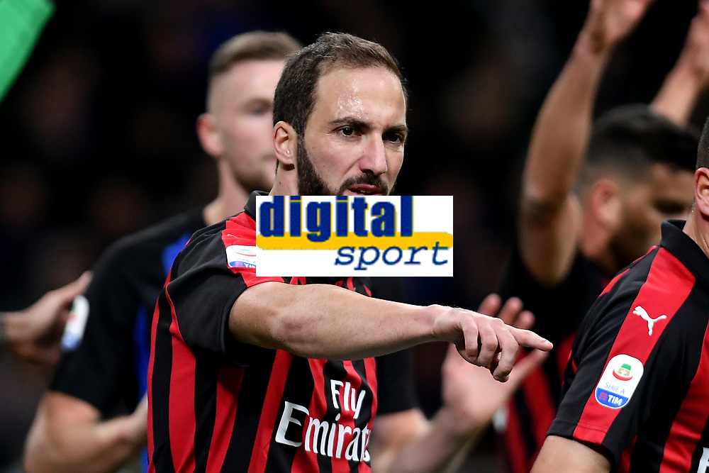 Gonzalo Higuain of AC Milan reacts during the Serie A 2018/2019 football match between Fc Internazionale and AC Milan at Giuseppe Meazza stadium Allianz Stadium, Milano, October, 21, 2018 <br />  Foto Andrea Staccioli / Insidefoto