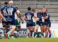 Rugby Union - 2020 / 2021 Gallagher Premiership - Round 4 - Sale Sharks vs London Irish - A J Bell Stadium<br /> <br /> Byron McGuigan of Sale Sharks celebrates scoring a try at A J Bell Stadium<br /> <br /> Credit COLORSPORT/LYNNE CAMERON