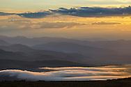 Morning ground fog seen below the Bodie Hills near Conway Summit, Mono County, Eastern Sierra, California