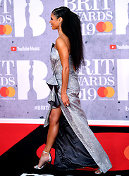 Vick Hope attending the Brit Awards 2019 at the O2 Arena, London.