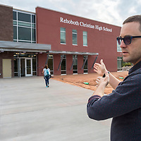 Principle Chris Van Slooten shows off the new building for Rehoboth Christian High School in Rehoboth, New Mexico.