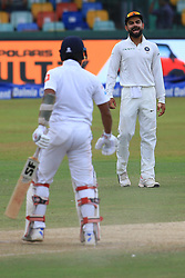 August 4, 2017 - Colombo, Sri Lanka - Indian  cricket captain Virat Kholi (R)  cheers up his team mates during the 2nd Day's play in the 2nd Test match between Sri Lanka and India at the SSC international cricket stadium at the capital city of Colombo, Sri Lanka on Friday 04 August 2017. (Credit Image: © Tharaka Basnayaka/NurPhoto via ZUMA Press)