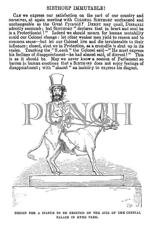 Sibthorp Immutable! Design for a statue to be erected on the site of the Crystal Palace in Hyde Park.