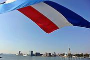Nederland, Rotterdam, 2-10-2011gezicht op de haven, Maas, vanaf de SS Rotterdam. Euromast. De nederlandse vlag wappert uitbundig.Foto: Flip Franssen/Hollandse Hoogte