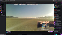 Screenshots of the moment Twitch streamer LooMinairy achieved Burnception.<br /> <br /> LooMinairy himself was live streaming from the playa in an RV using the cell phone tower and a cell booster. The video feed was then brought into BRCvr (drive-in style screen made of Porta-Potties in a dome) and LooMinairy live streamed himself exploring his own livestream from inside BRCvr. It was Burnception and it was fucking glorious. It was the highlight of the 2020 burn for me.  <br /> <br /> You can see a clip here of the moment here: <br /> https://www.twitch.tv/loominairy/clip/SmokyKitschySushiPicoMause<br /> <br /> More of the archived videos of his 2020 stream here:<br /> https://www.twitch.tv/loominairy/videos