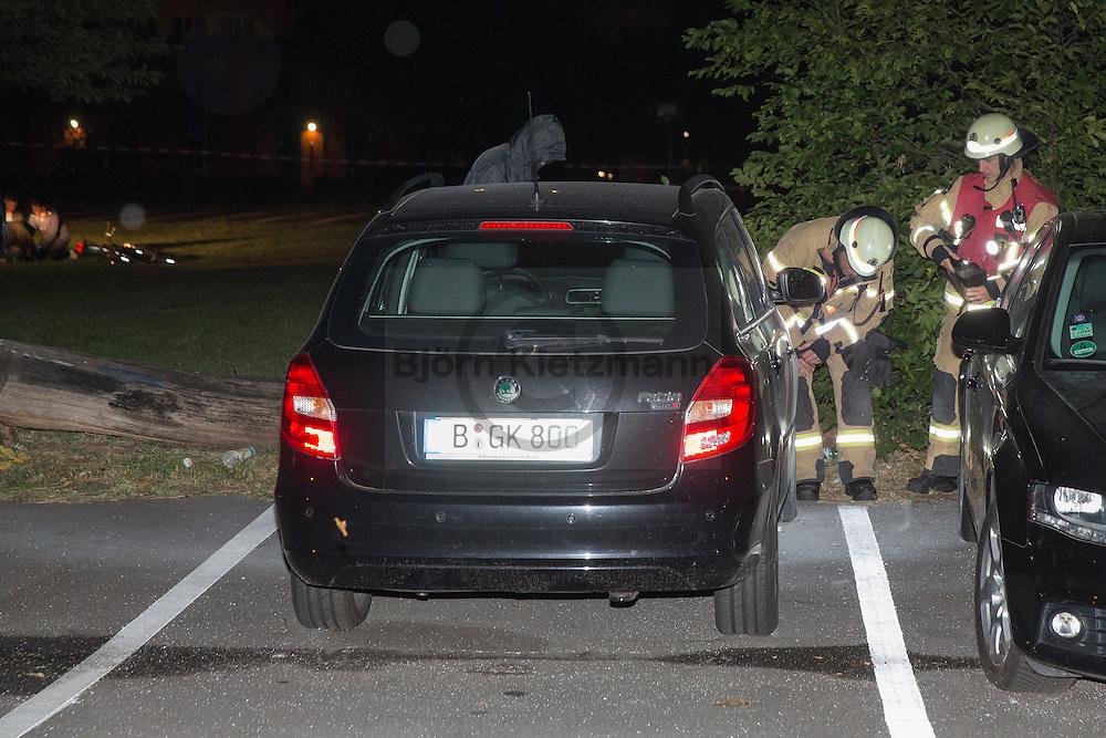 """Berlin, Germany - 06.07.2016<br /> <br /> Policemen arrest around 0:40am a caught in flagranti car arsonist in the Tasdorfer Strasse in Berlin-Lichtenberg. The 26-year-old confessed perpetrator has previously been observed while he wanted to put three older vehicles on fire. The perpetrator is Marcel G. who also participated in marches of far right Berlin PEGIDA offshoot Baergida. According to a left website, G. worked as an confidential informant<br />  for the police and / or the German domestic intelligence service to spy the left scene. This was busted late 2015, then G. participated in right wing marches where he also held speeches about his """"exit"""" from the left scene. Whether the widespread allegation that G. worked as an confidential informant is actually  unconfirmed. The arson in G has now caught , let individual actions of recent days appear in a different light.The police are now investigating whether G is also the culprit in other arsons. Since, parts of the left house project Rigaer94 was evicted around 2 weeks ago, there were numerous property damage , arson and protests. With the arson at old family wagons G. wanted may inflame from personal or political reasons, the mood against the left scene.<br /> <br /> Polizisten nehmen gegen 0:40 Uhr einen auf frischer Tat erwischten Autobrandstifter in der Tasdorfer Strasse in Berlin-Lichtenberg fest. Der 26-jaehrige geständige Taeter wurde zuvor dabei beobachtet wie er drei Fahrzeuge aelteren Baujahrs in Brand zu setzen wollte. Bei dem Taeter handelt es sich um Marcel G. der auch an Aufmaerschen des Berliner PEGIDA-Ablegers Baergida teilnahm. Laut einem auf einer linken Internetseite verbreiteten Text, soll G. auch als V-Mann fuer Polizei und/oder Verfassungsschutzbehoerden gearbeitet haben, mit dem Auftrag die linke Szene auszuspaehen. Dies sei Ende 2015 aufgeflogen, anschließend beteiligte sich G. an rechten Aufmaerschen, wo er auch Reden ueber seinen """"Ausstieg"""" aus der linken Szene hielt. Ob der verbreitet"""