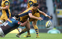 Ben Mosses of Bristol Rugby is tackled by Will Collier of Harlequins - Mandatory by-line: Robbie Stephenson/JMP - 03/09/2016 - RUGBY - Twickenham - London, England - Harlequins v Bristol Rugby - Aviva Premiership London Double Header